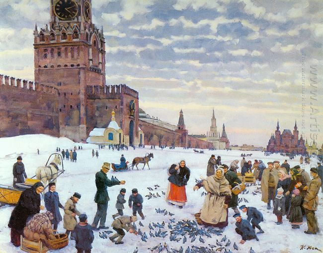 Feeding Pigeons In Red Square In The Years 1890 1900 1946