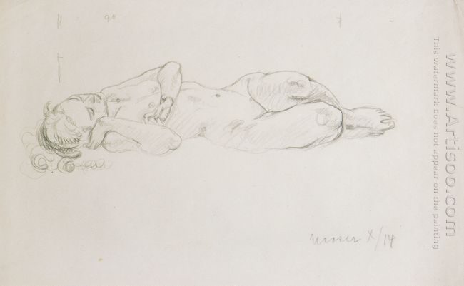 Figure Study To Mermaid 1914