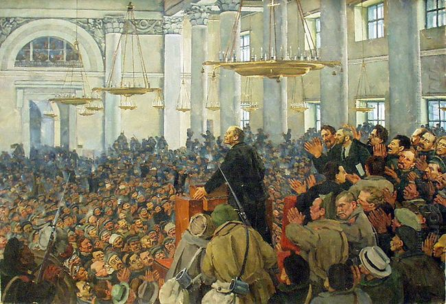 First Appearance Of Lenin At A Meeting In Smolny The Petrograd S