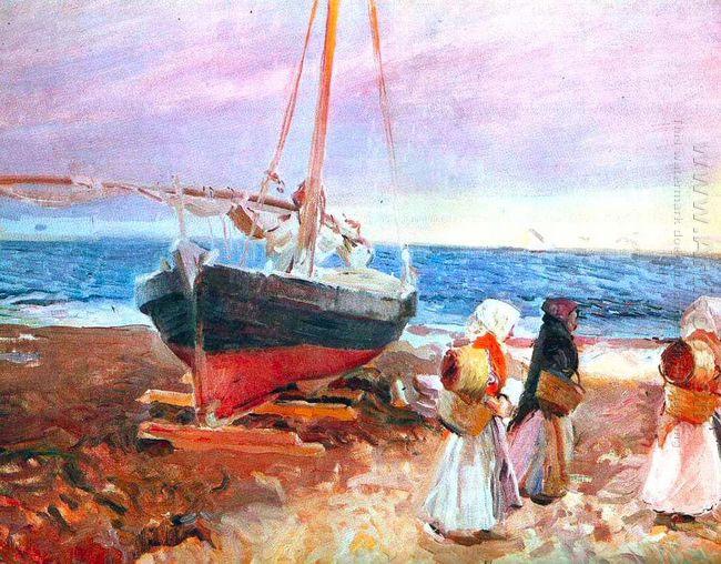 Fisherwomen On The Beach Valencia 1903