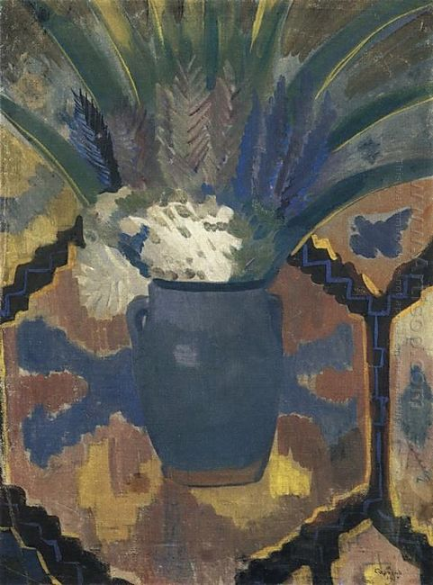 Flowers Against The Backdrop Of Carpet 1915