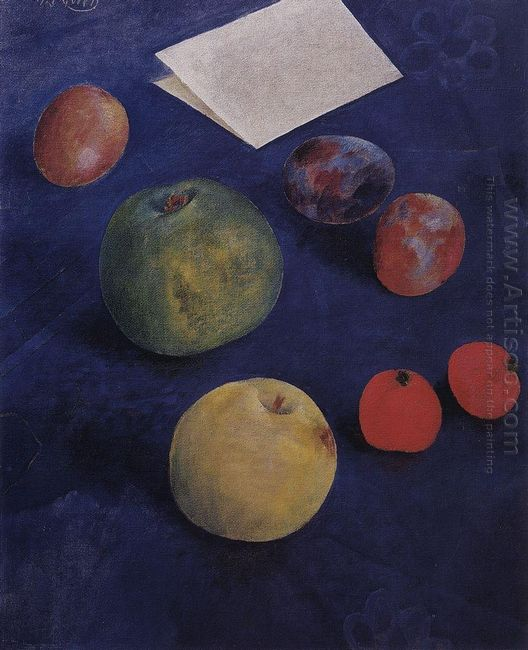 Fruit On A Blue Tablecloth 1921