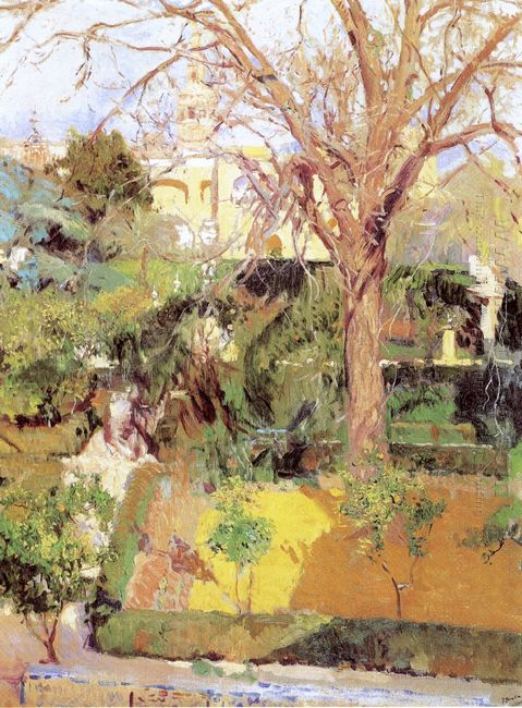 Gardens Of The Alcázof Seville In Wintertime 1908