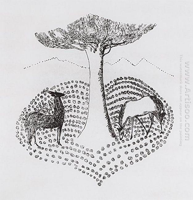 Gazelles Near The Tree 1907
