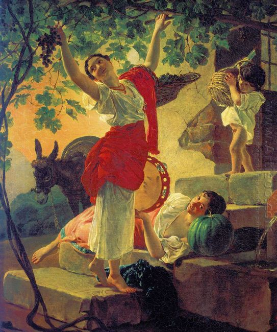 Girl Gathering Grapes In A Suburb Of Naples