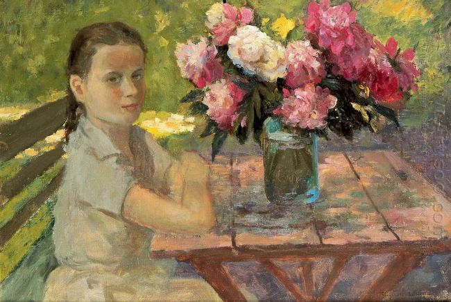 Girl With Peonies