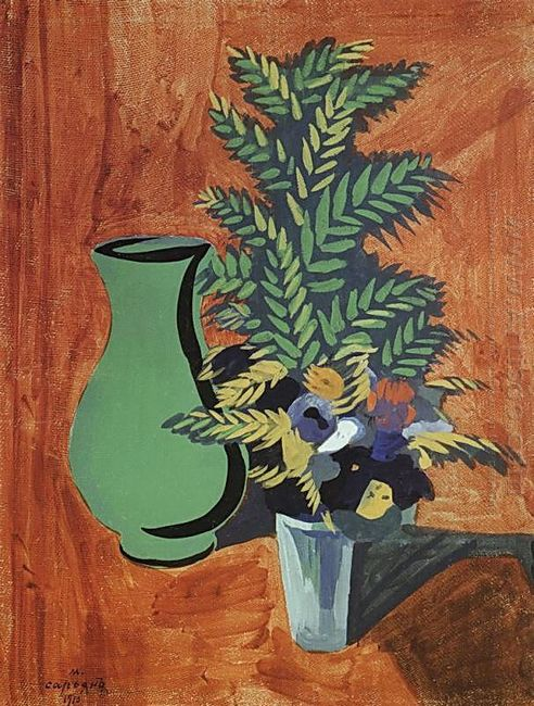 Green Jug And Bouquet 1910