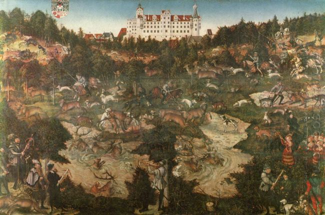 Hunt In Honour Of Charles V At The Castle Of Torgau 1544