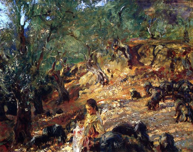 Ilex Wood At Majorca With Blue Pigs 1908