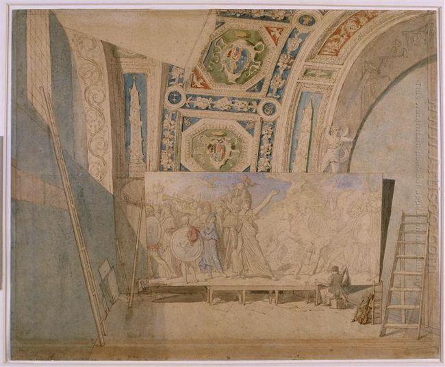 Ingres In His Studio Painting Romulus Winner Of Acron