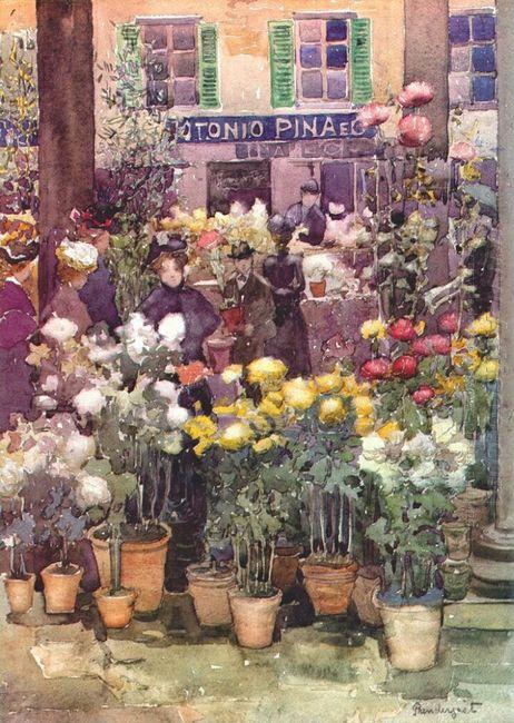 Italian Flower Market 1898