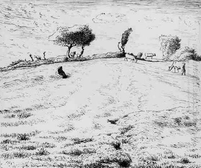 Landscape Hillside In Gruchy 1870