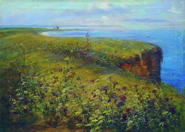 Landscape Sea And Flowers