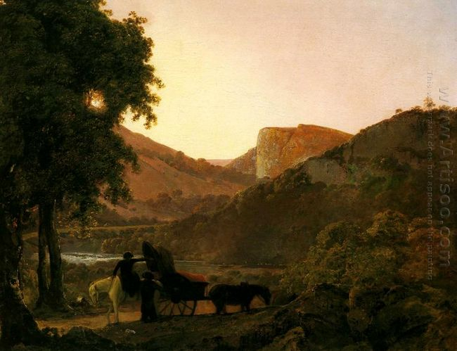 Landscape With Figures And A Tilted Cart Matlock Hogh Tor In The