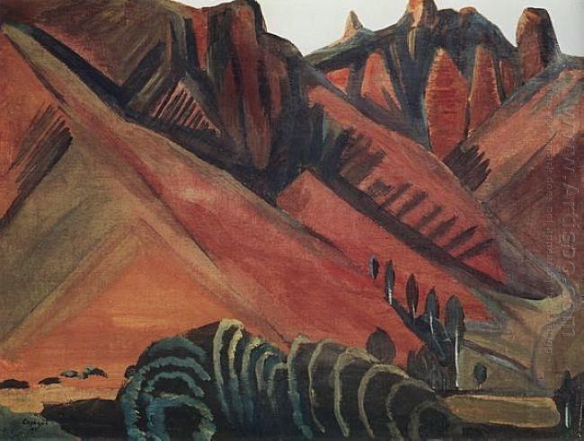 Landscape With Mountains Surb Khach Rocks Gohtan 1914