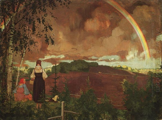 Landscape With Two Peasant Girls And A Rainbow