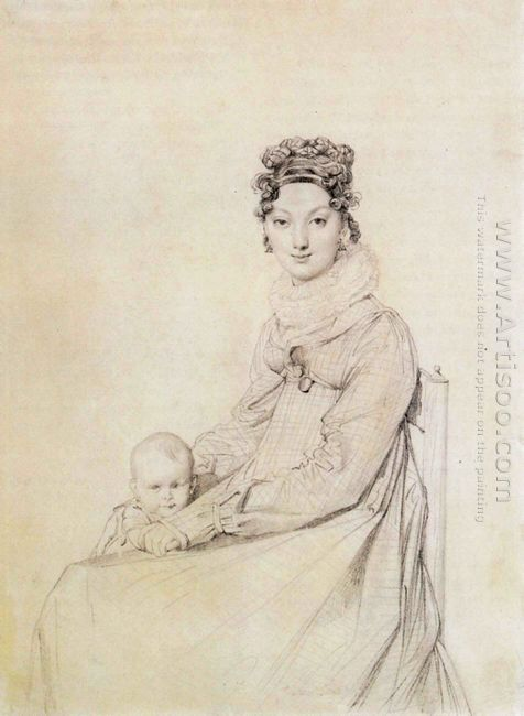 Madame Alexandre Lethiere Born Rosa Meli And Her Daughter Letizi
