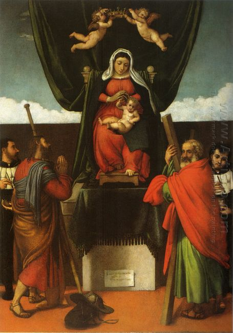 Madonna And Child Enthroned With Four Saints 1546