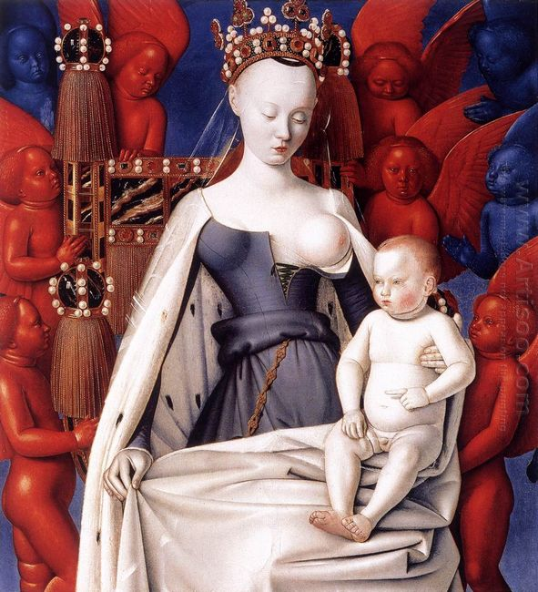 Madonna And Child Left Panel Of Diptych De Melun