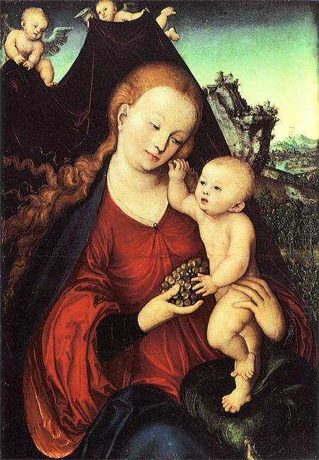 Madonna And Child With A Bunch Of Grapes 1525