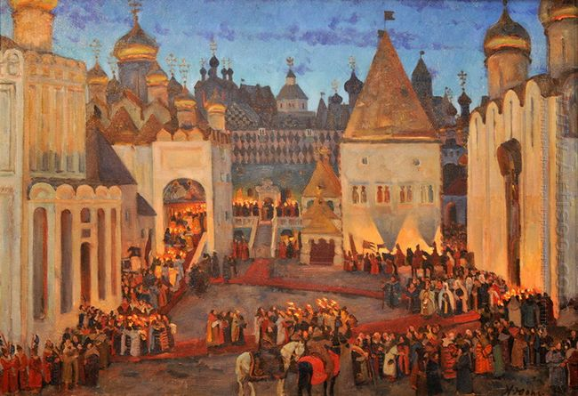 Mikhail Fyodorovitch Coronation At 1613 Sobornaya Square Moscow