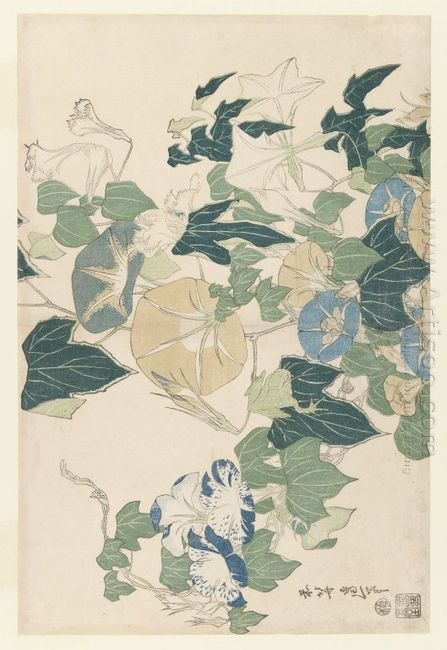 Morning Glories In Flowers And Buds 1832