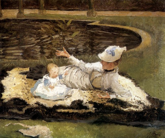 Mrs Newton With A Child By A Pool