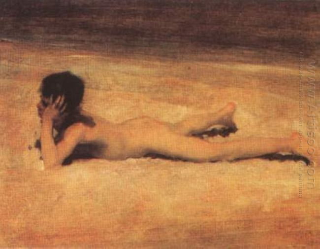Naked Boy On The Beach