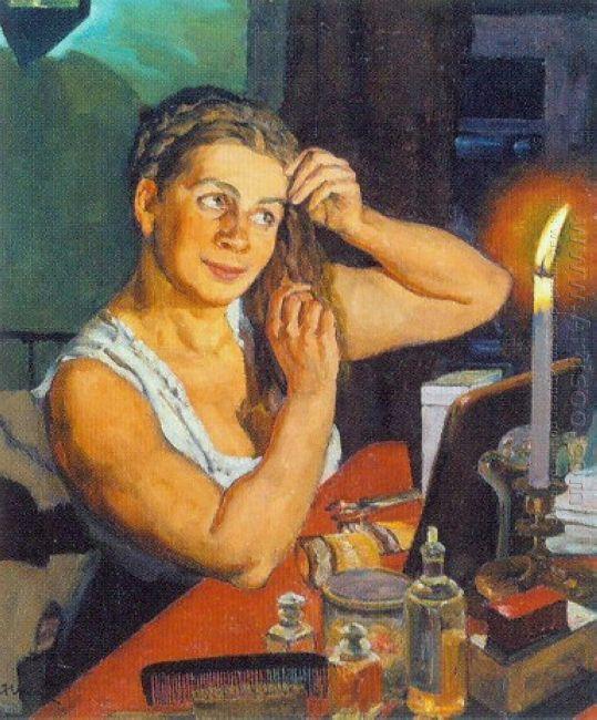 Night Time Portrait Of The Artist S Wife Klavdiya Yuon 1911