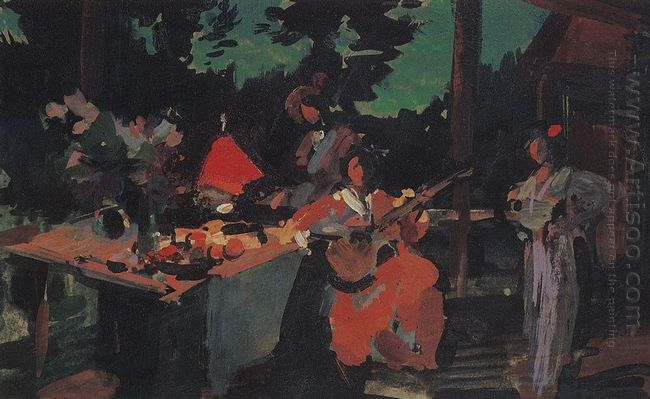 On A Terrace Evening In The Coutry 1901