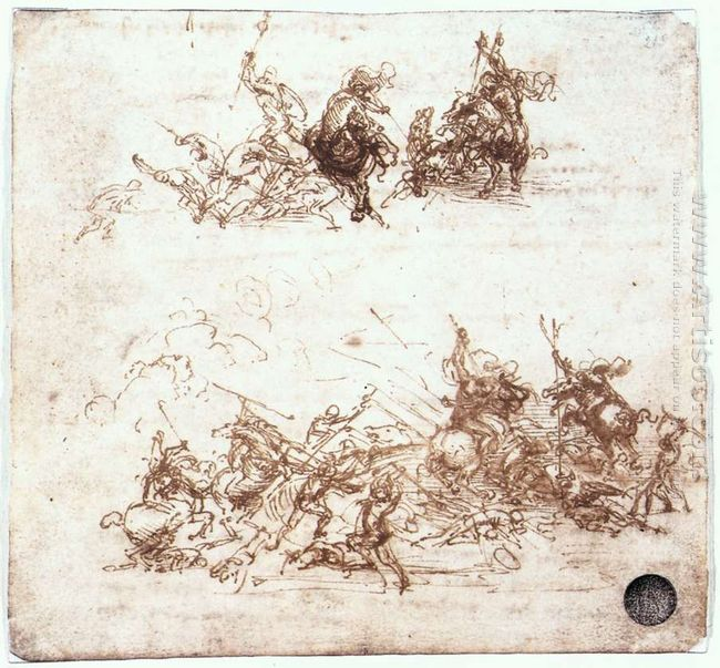 Page From A Notebook Showing Figures Fighting On Horseback And O