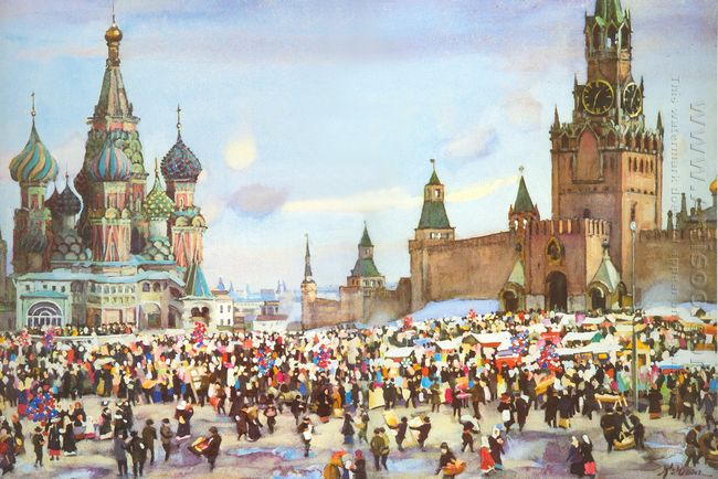 Palm Sunday Bazaar On Red Square 1916
