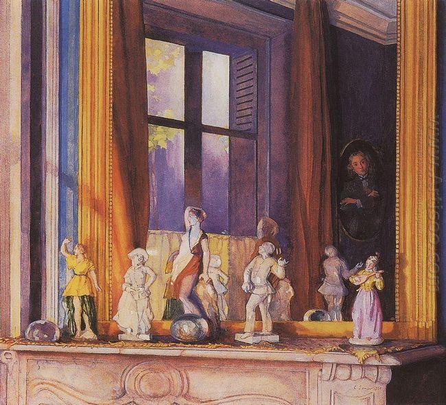 Porcelain Figurines On A Stone Shelf