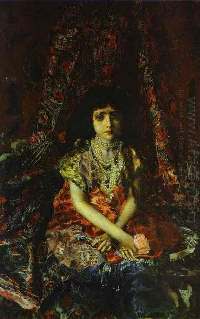 Portrait Of A Girl Against A Persian Carpet 1886