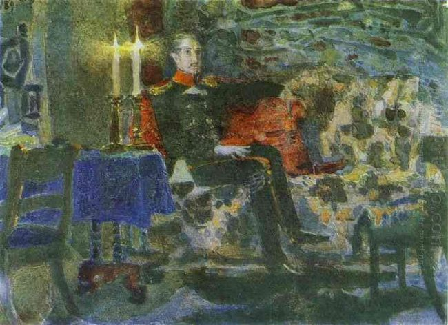 Portrait Of An Officer Pechorin On A Sofa 1889