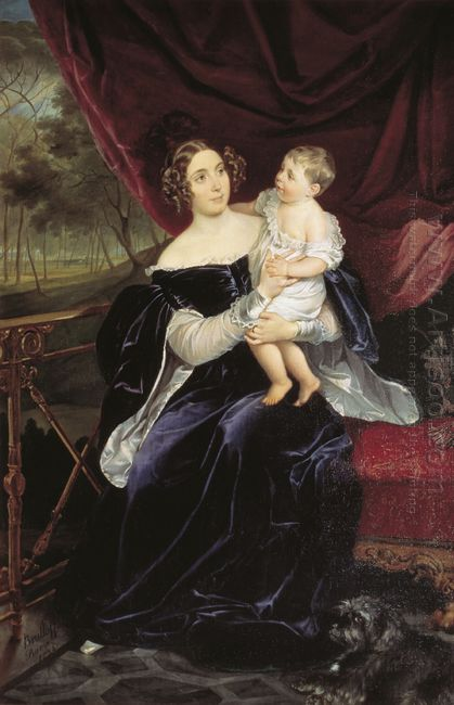 Portrait Of Countess O I Orlova Davydova And Her Daughter