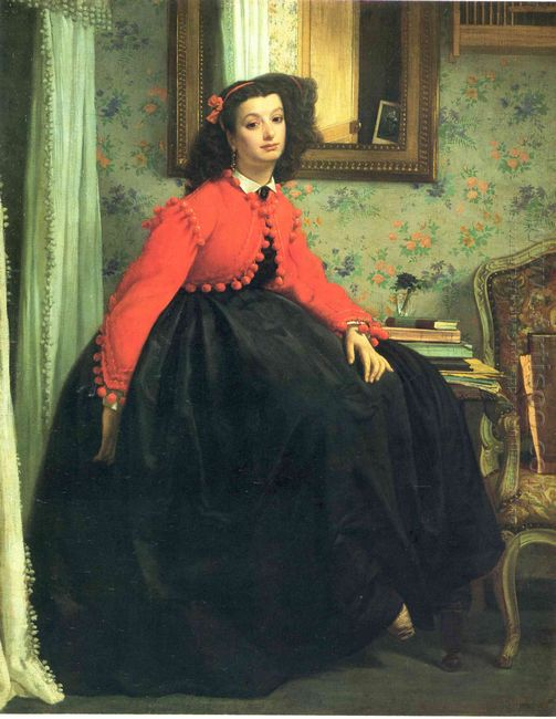Portrait Of Mlle L L Young Lady In A Red Jacket 1864