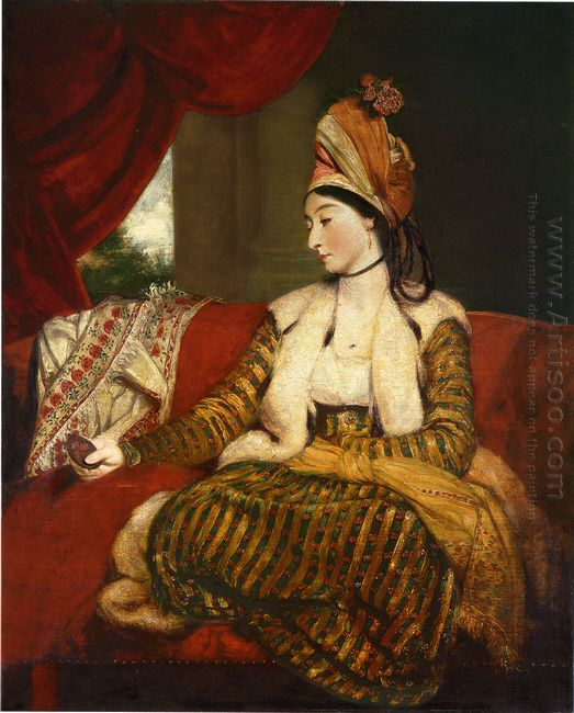 Portrait Of Mrs Baldwin Full Length Seated On A Red Divan