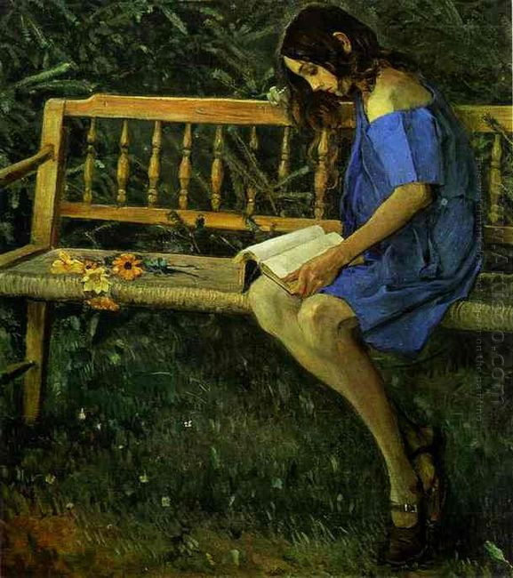 Portrait Of Natasha Nesterova On A Garden Bench 1914
