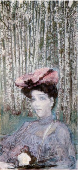 Portrait Of N Zabela Vrubel On The Edge Of A Birch Grove 1904