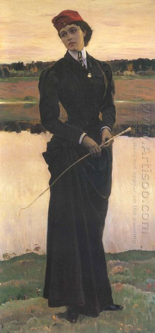 Portrait Of Olga Nesterova Woman In A Riding Habit 1906