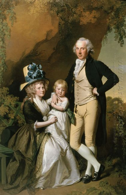 Portrait Of Richard Arkwright Junior With His Wife Mary And Daug