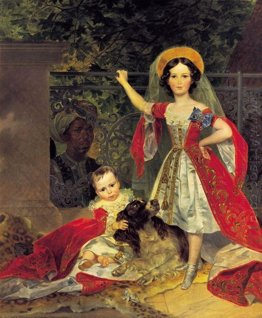 Portrait Of Volkonskis Children With Blackamoor