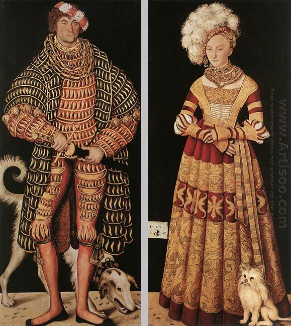 Portraits Of Henry The Pious Duke Of Saxony And His Wife Kathari
