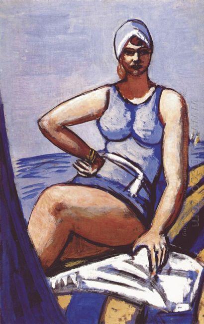 Quappi In Blue In A Boat 1950