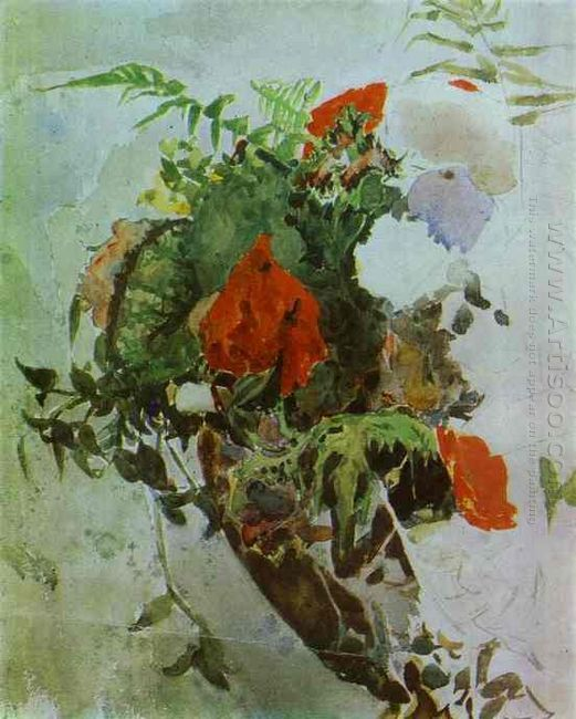 Red Flowers And Leaves Of Begonia In A Basket