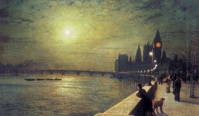 Reflections On The Thames Westminster 1880