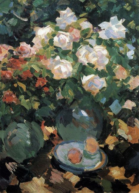 Roses In Blue Jugs 1917