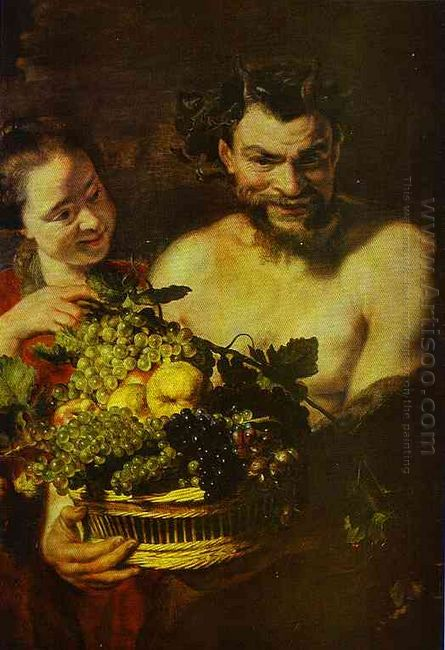 Satyr And Girl With A Basket Of Fruit