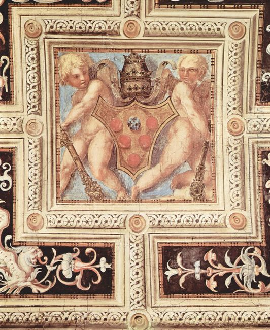 Scene With Cherubs On Papal Coat Of Arms 1515